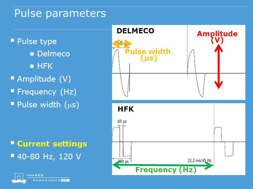 Pulse parameters  Pulse type ● Delmeco ● HFK  Amplitude (V)  Frequency (Hz)  Pulse width (s)  Current settings  40-80 Hz, 120 V Amplitude (V) Frequency (Hz) Pulse width (µs) DELMECO HFK