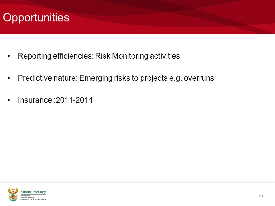 Opportunities Reporting efficiencies: Risk Monitoring activities Predictive nature: Emerging risks to projects e.g.