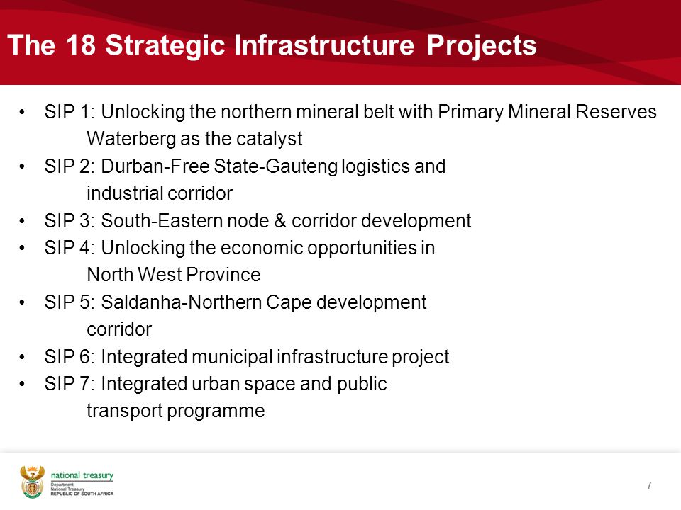 The 18 Strategic Infrastructure Projects - Contd SIP 8: Green energy in support of the South African economy SIP 9: Electricity generation to support socioeconomic development SIP 10: Electricity transmission and distribution for all SIP 11: Agri-logistics and rural infrastructure SIP 12: Revitalisation of public hospitals and other health facilities SIP 13: National school build programme SIP 14: Higher education infrastructure 8