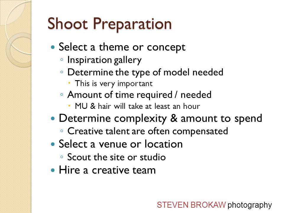 The Creative Team Model Makeup Artist (MUA) Hair (Stylist) Designer / clothes Assistant STEVEN BROKAW photography