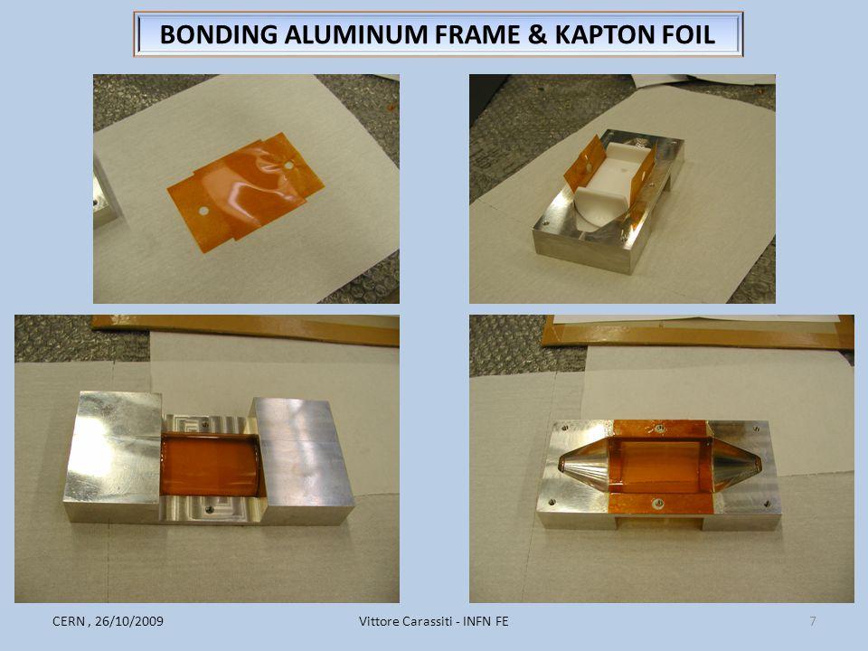 Vittore Carassiti - INFN FE7CERN, 26/10/2009 BONDING ALUMINUM FRAME & KAPTON FOIL