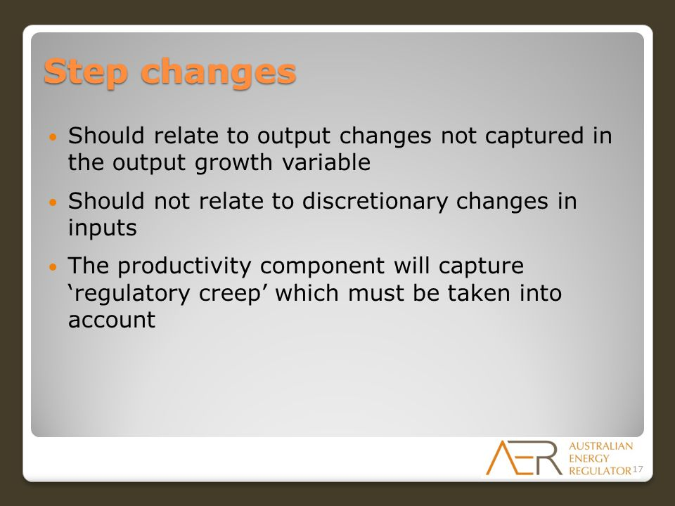 Step changes Should relate to output changes not captured in the output growth variable Should not relate to discretionary changes in inputs The produ