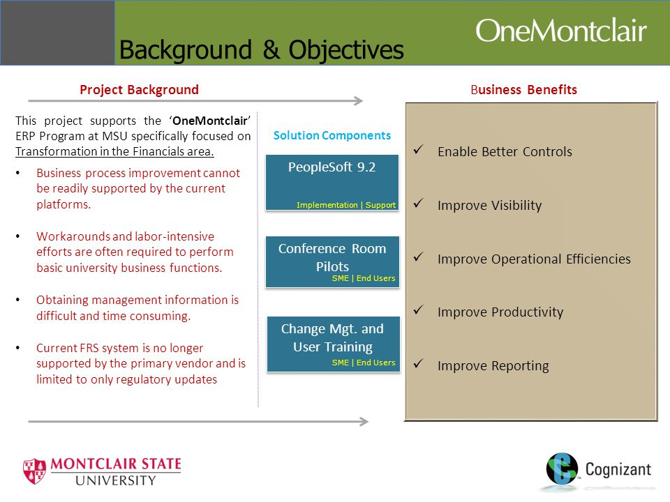 Background & Objectives Business Benefits Enable Better Controls Improve Visibility Improve Operational Efficiencies Improve Productivity Improve Reporting Project Background This project supports the 'OneMontclair' ERP Program at MSU specifically focused on Transformation in the Financials area.