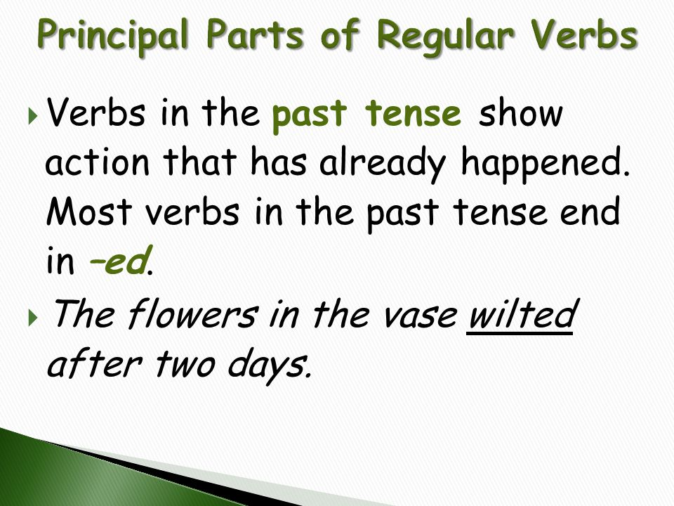  Verbs in the past tense show action that has already happened. Most verbs in the past tense end in –ed.  The flowers in the vase wilted after two d