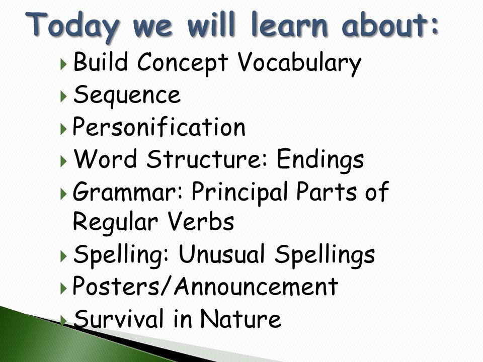  Build Concept Vocabulary  Sequence  Personification  Word Structure: Endings  Grammar: Principal Parts of Regular Verbs  Spelling: Unusual Spel