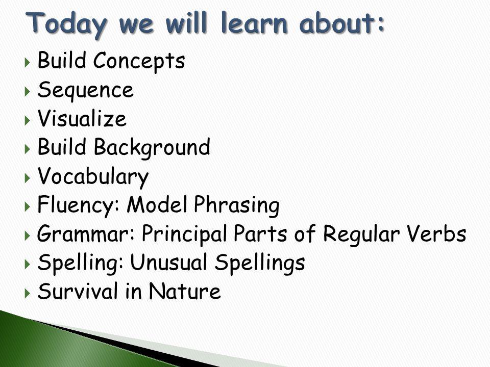  Build Concepts  Sequence  Visualize  Build Background  Vocabulary  Fluency: Model Phrasing  Grammar: Principal Parts of Regular Verbs  Spelli
