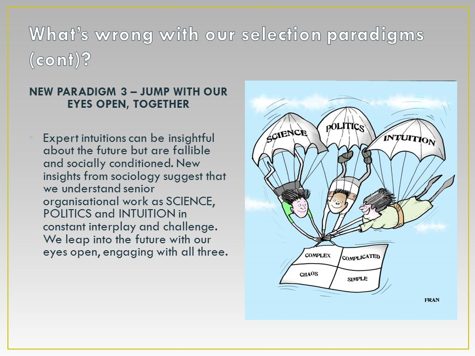 NEW PARADIGM 3 – JUMP WITH OUR EYES OPEN, TOGETHER Expert intuitions can be insightful about the future but are fallible and socially conditioned.