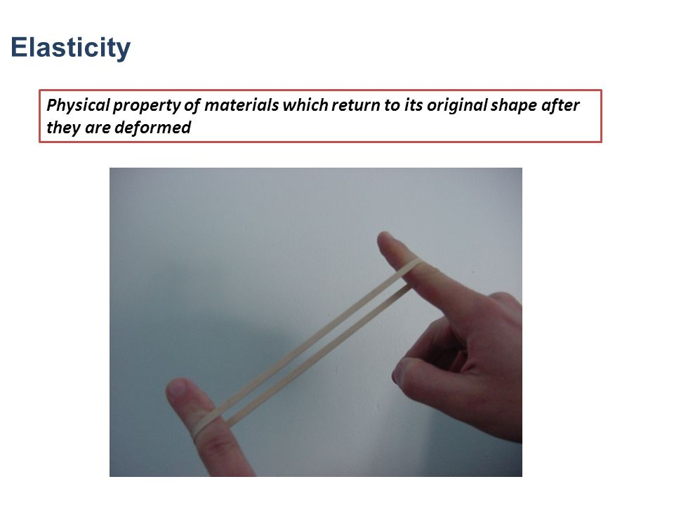 Elasticity Physical property of materials which return to its original shape after they are deformed