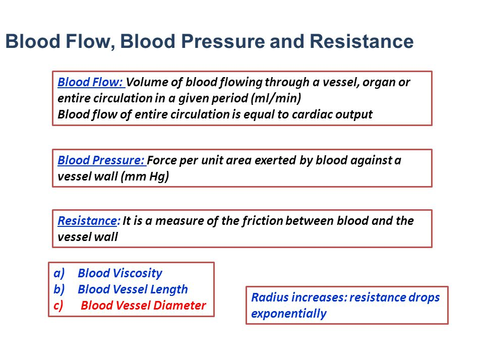 Blood Flow, Blood Pressure and Resistance Blood Flow: Volume of blood flowing through a vessel, organ or entire circulation in a given period (ml/min)