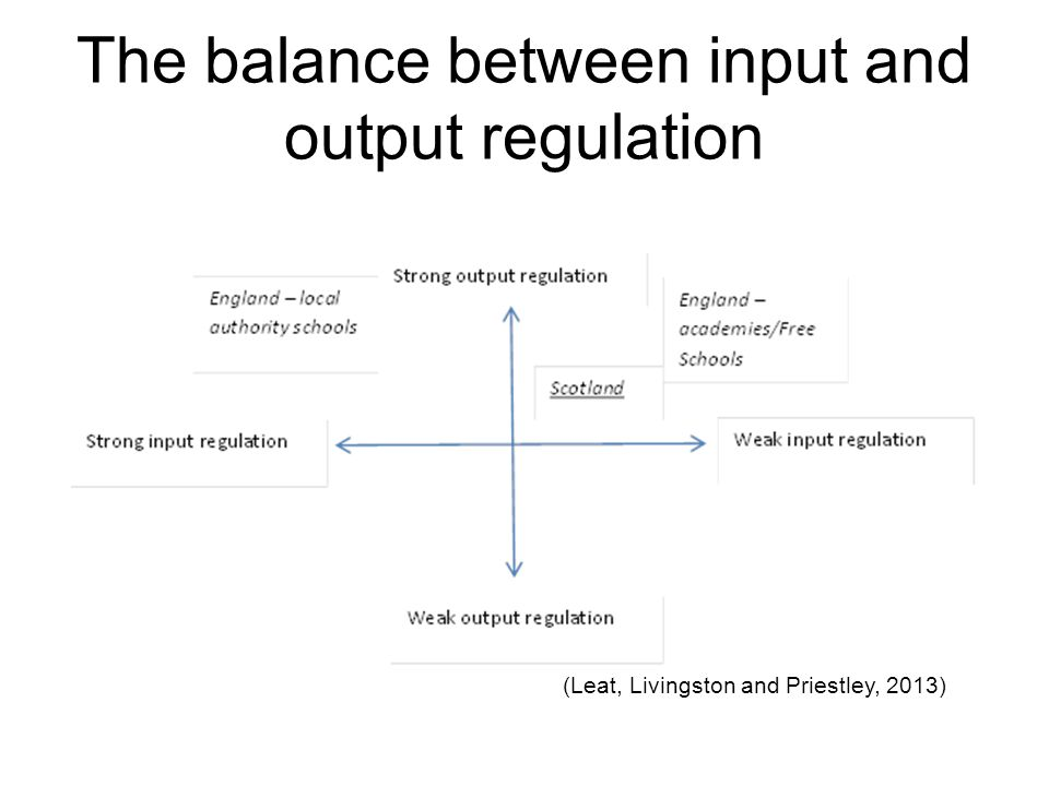 The balance between input and output regulation (Leat, Livingston and Priestley, 2013)