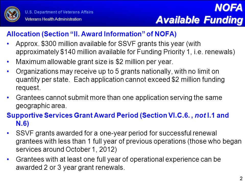 "U.S. Department of Veterans Affairs Veterans Health Administration 22 NOFA Available Funding Allocation (Section ""II. Award Information"" of NOFA) Appr"