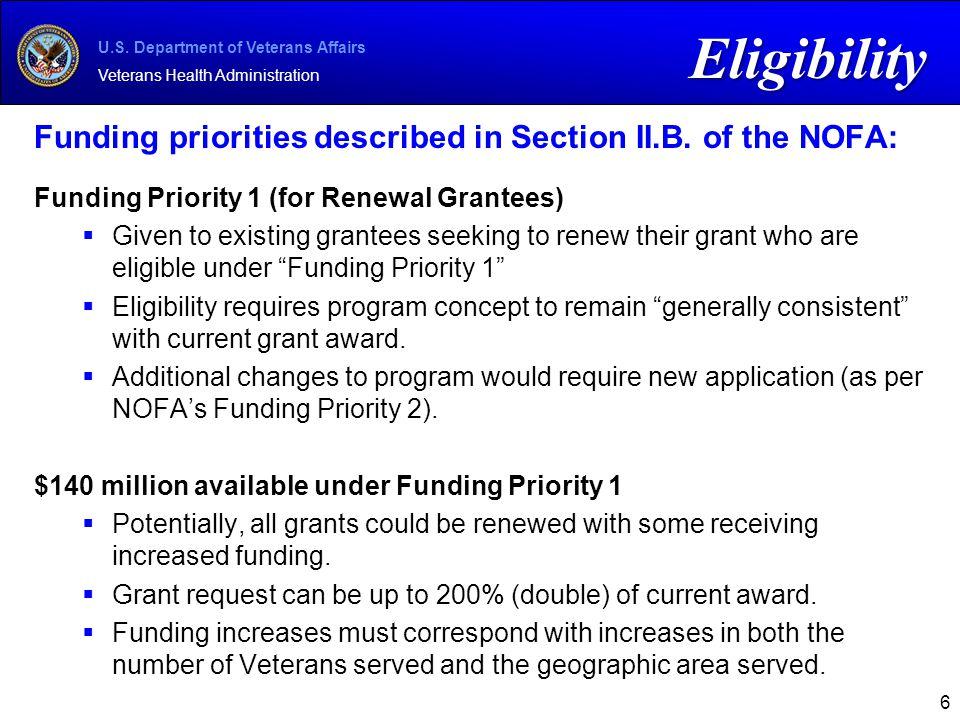 U.S. Department of Veterans Affairs Veterans Health Administration Funding priorities described in Section II.B. of the NOFA: Funding Priority 1 (for