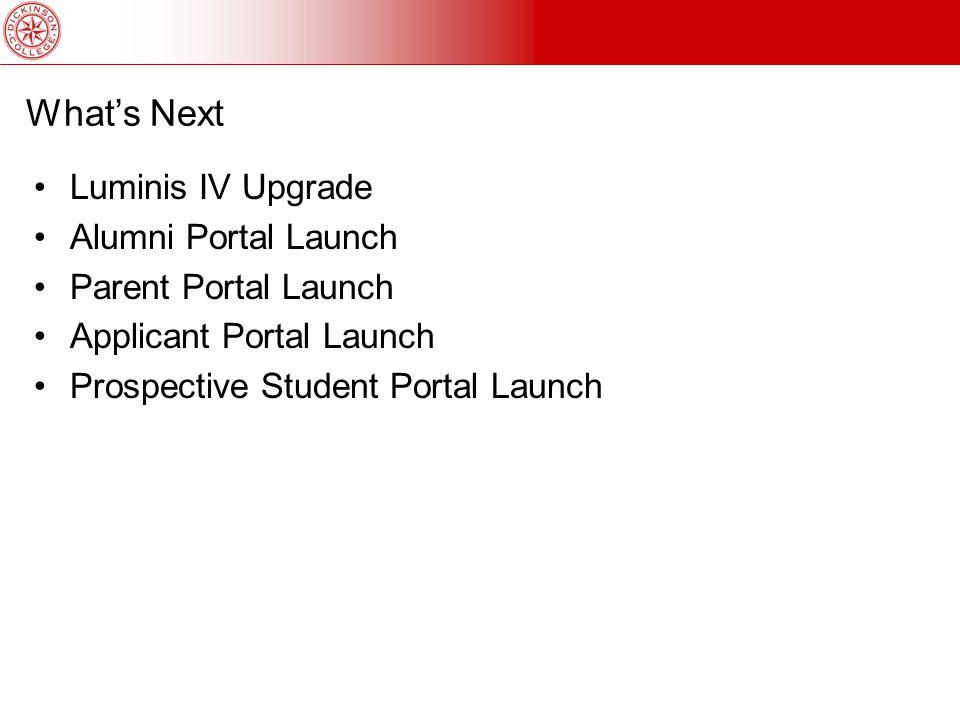 What's Next Luminis IV Upgrade Alumni Portal Launch Parent Portal Launch Applicant Portal Launch Prospective Student Portal Launch