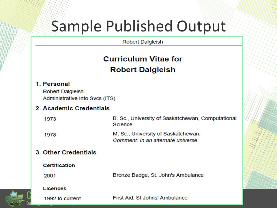 Sample Published Output