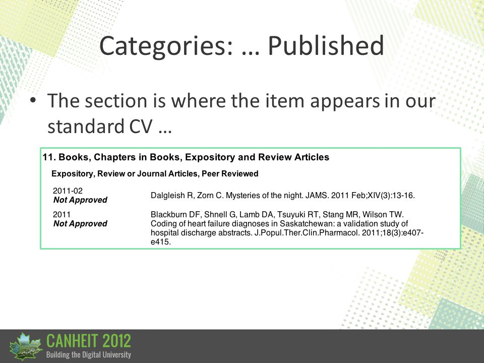 Categories: … Published The section is where the item appears in our standard CV …