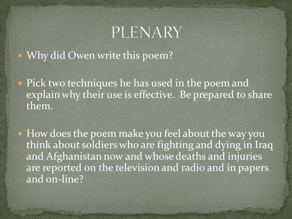 Why did Owen write this poem.