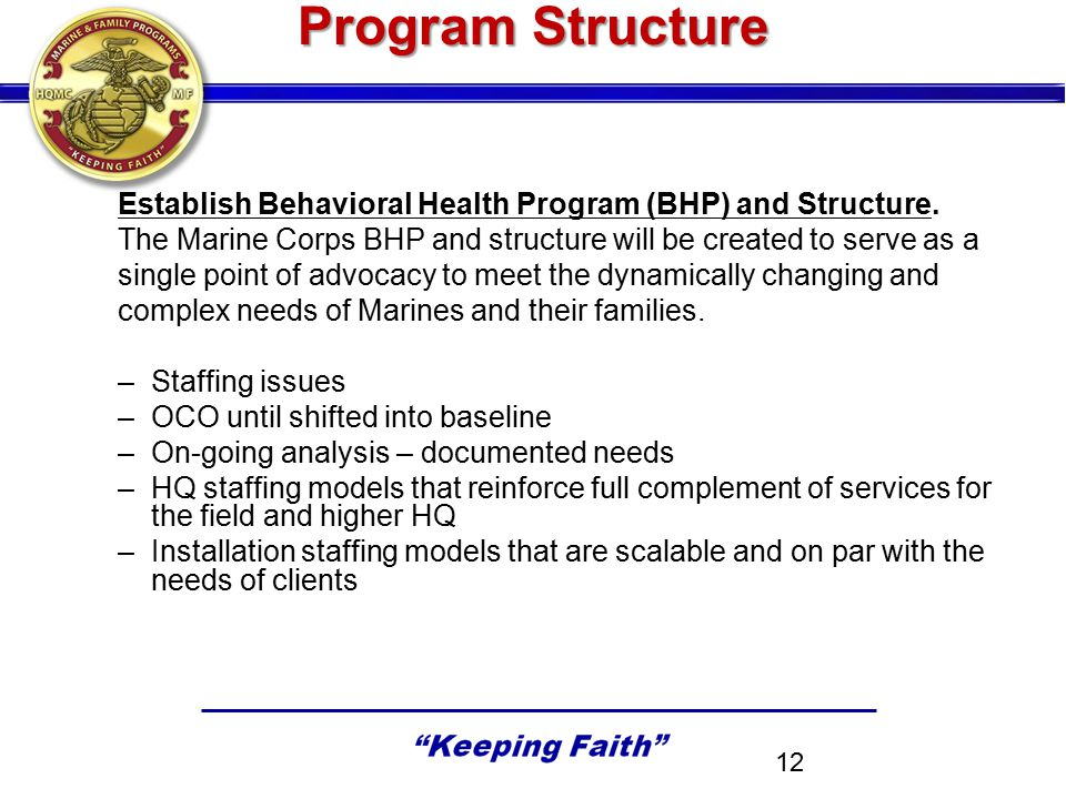 Program Structure Establish Behavioral Health Program (BHP) and Structure. The Marine Corps BHP and structure will be created to serve as a single poi
