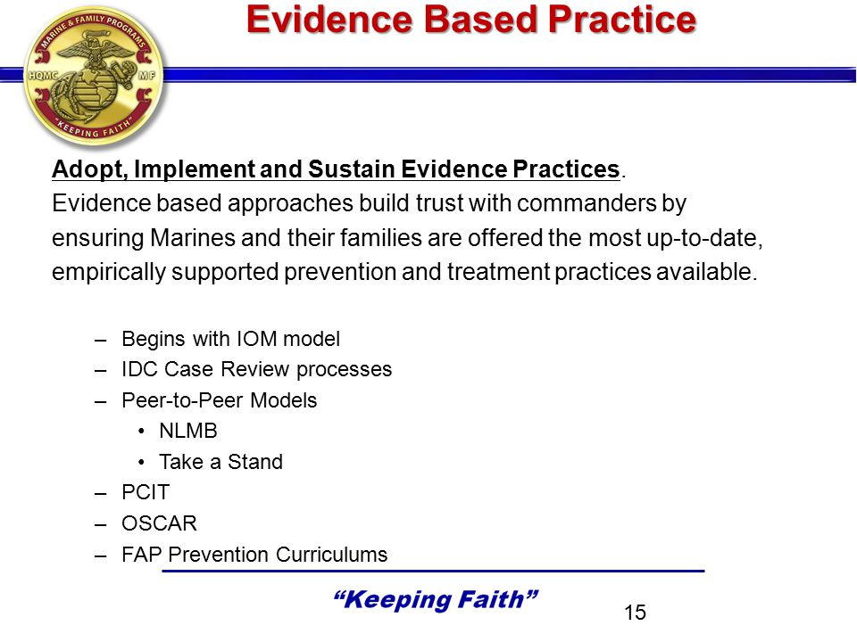 Evidence Based Practice Adopt, Implement and Sustain Evidence Practices.