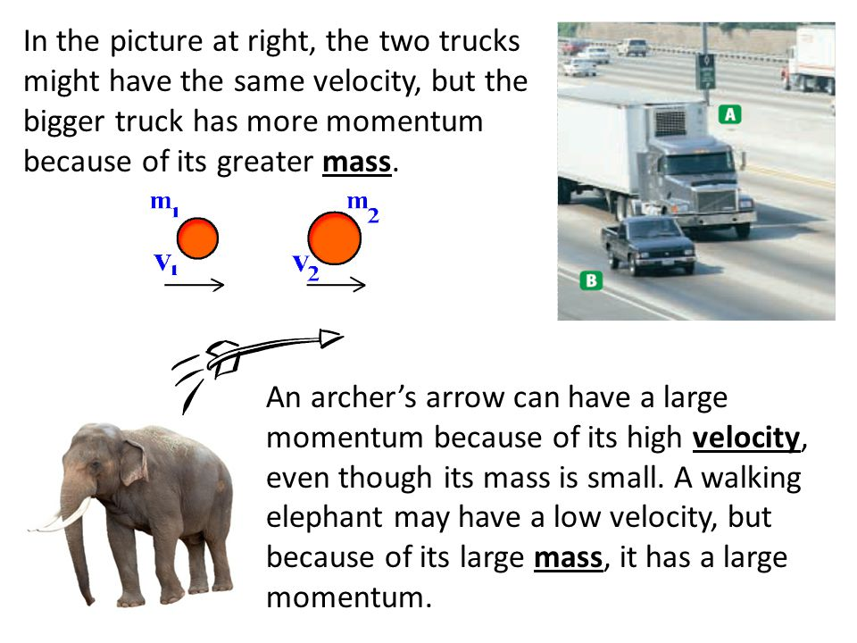 In the picture at right, the two trucks might have the same velocity, but the bigger truck has more momentum because of its greater mass. An archer's