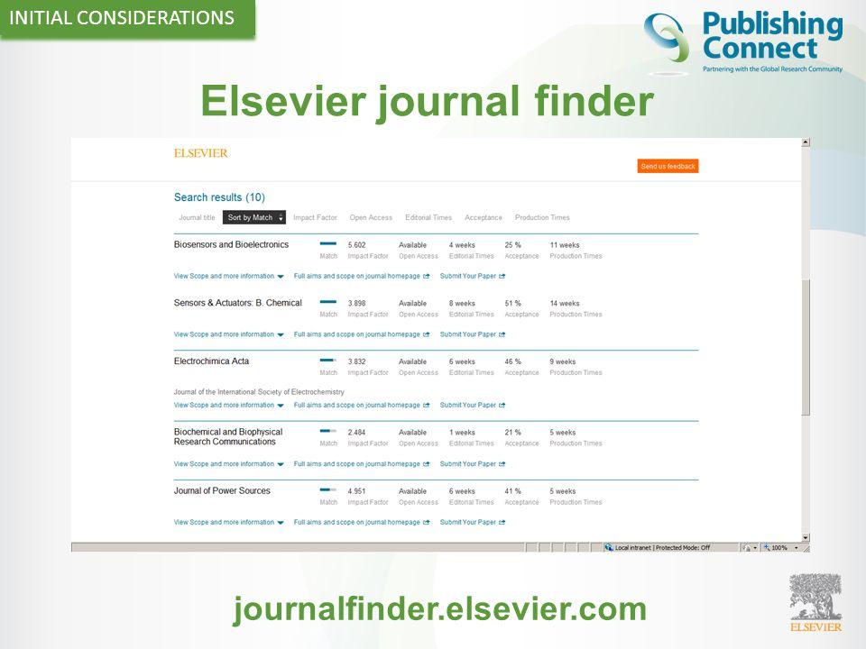 Elsevier journal finder INITIAL CONSIDERATIONS journalfinder.elsevier.com