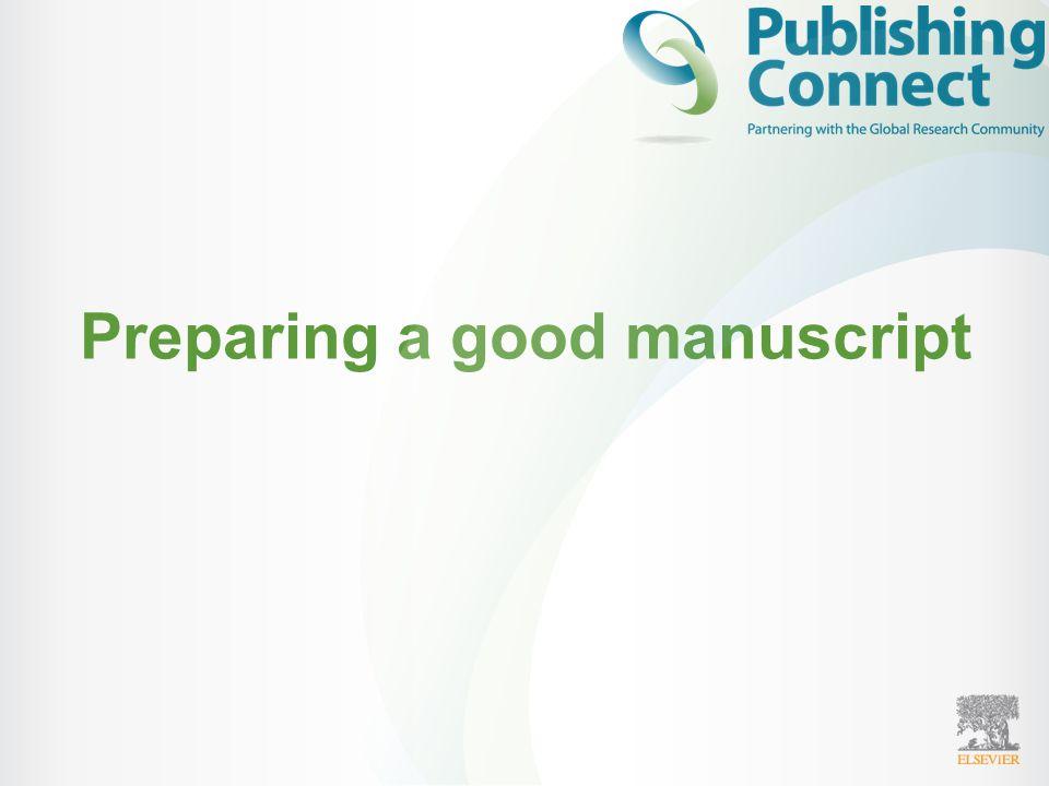 Preparing a good manuscript