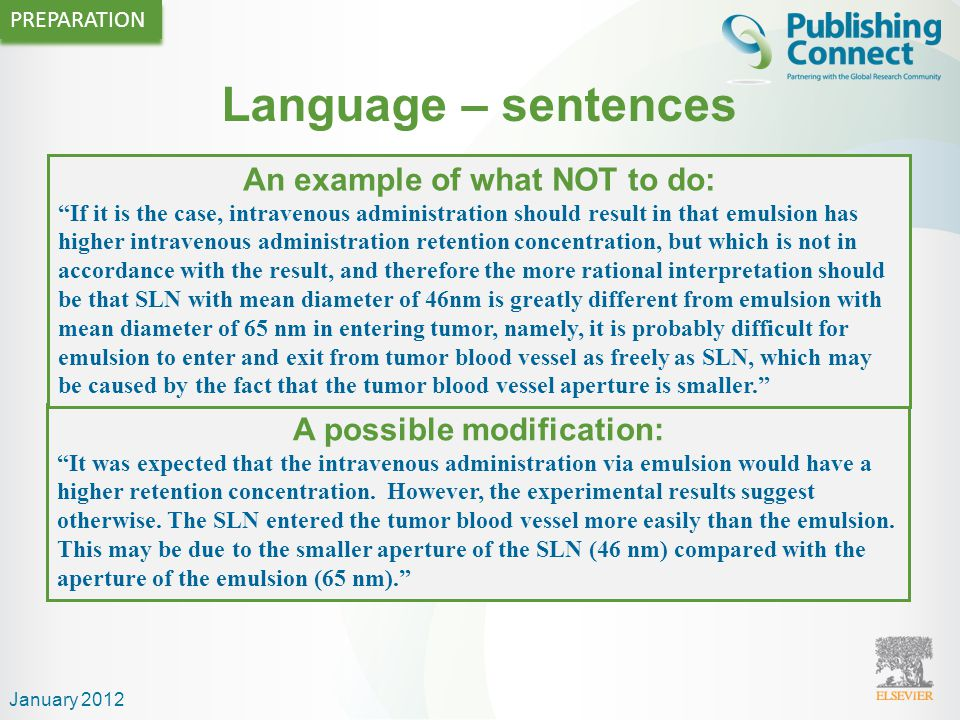 Language – sentences Write direct and short sentences One idea or piece of information per sentence is sufficient Avoid multiple statements in one sen