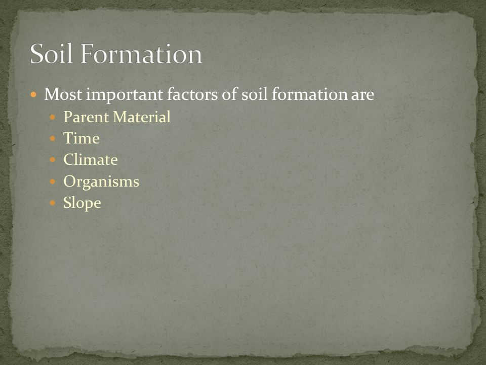 Most important factors of soil formation are Parent Material Time Climate Organisms Slope
