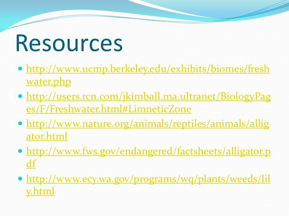 Resources http://www.ucmp.berkeley.edu/exhibits/biomes/fresh water.php http://www.ucmp.berkeley.edu/exhibits/biomes/fresh water.php http://users.rcn.c