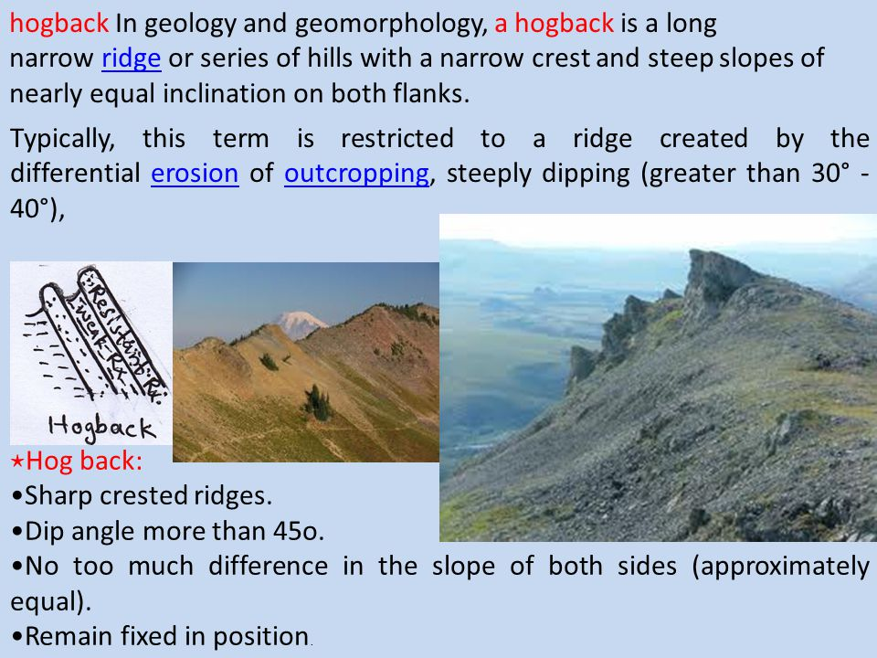 ⋆ Hog back: Sharp crested ridges. Dip angle more than 45o. No too much difference in the slope of both sides (approximately equal). Remain fixed in po