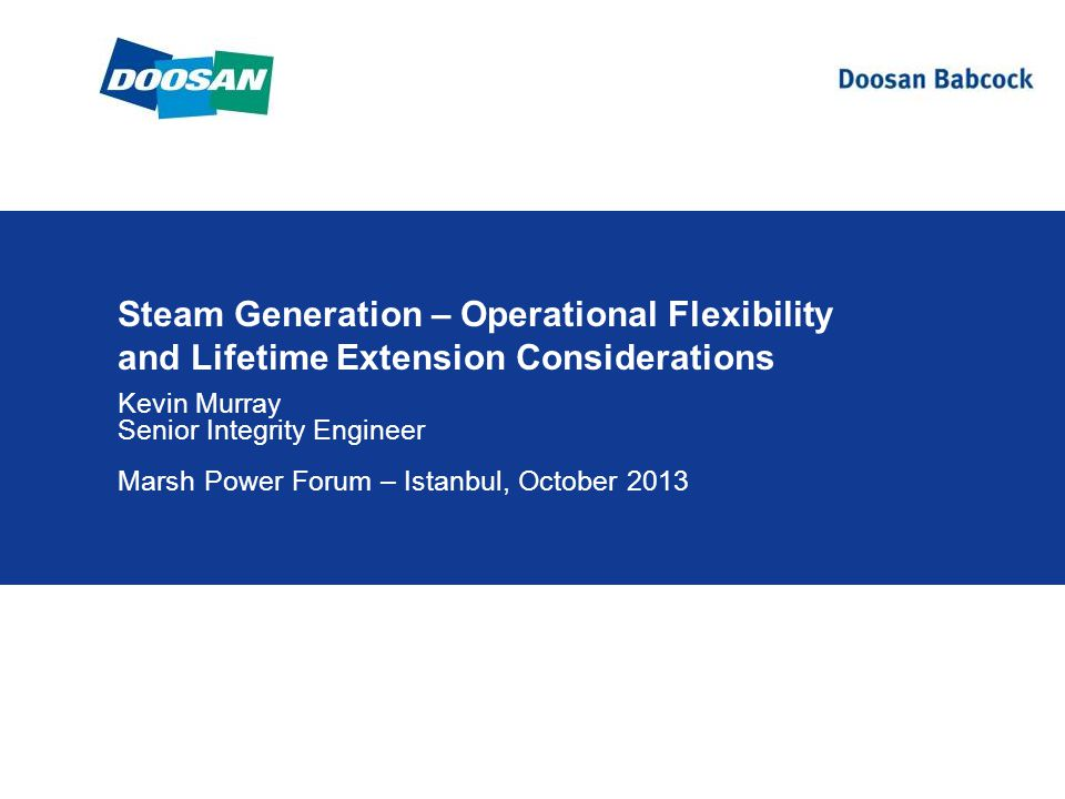 Steam Generation – Operational Flexibility and Lifetime Extension Considerations Kevin Murray Senior Integrity Engineer Marsh Power Forum – Istanbul, October 2013
