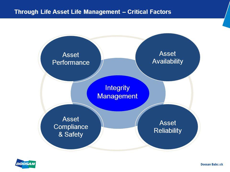 6 Through Life Asset Life Management – Critical Factors Asset Performance Asset Compliance & Safety Asset Reliability Asset Availability Integrity Management
