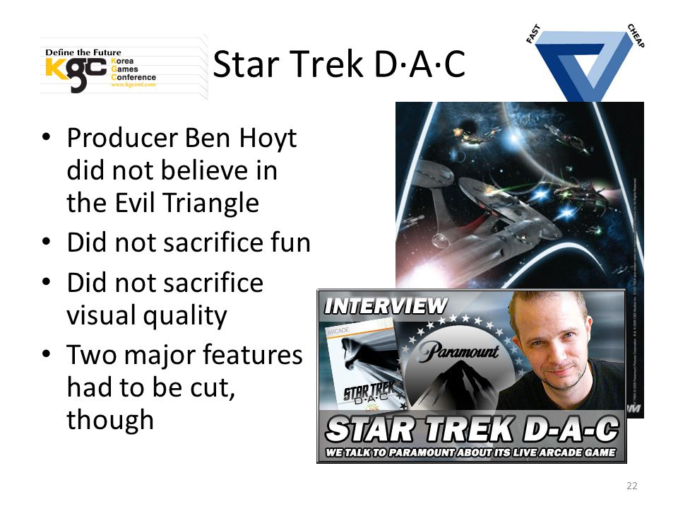 Star Trek D·A·C Producer Ben Hoyt did not believe in the Evil Triangle Did not sacrifice fun Did not sacrifice visual quality Two major features had t