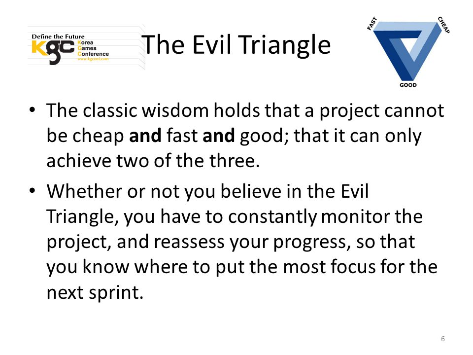The Evil Triangle And even if you do believe that you can have only two points of the triangle, you never have to entirely give up on the third.