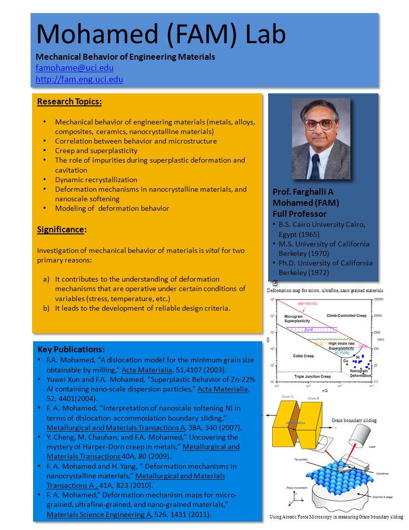 Mohamed (FAM) Lab Mechanical Behavior of Engineering Materials famohame@uci.edu http://fam.eng.uci.edu Mohamed (FAM) Lab Mechanical Behavior of Engineering Materials famohame@uci.edu http://fam.eng.uci.edu Prof.