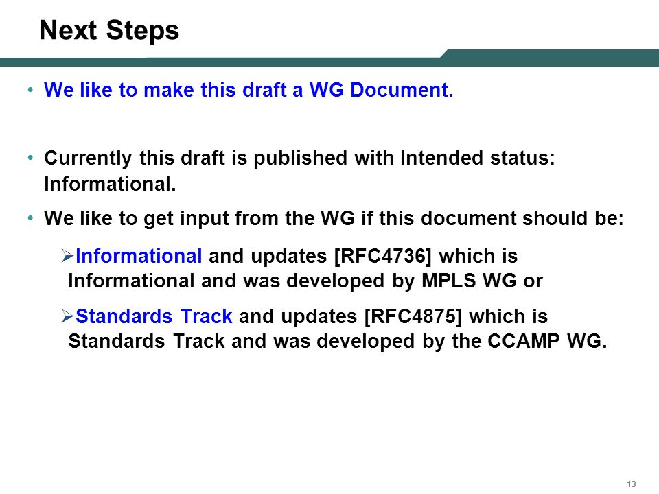 13 Next Steps We like to make this draft a WG Document. Currently this draft is published with Intended status: Informational. We like to get input fr