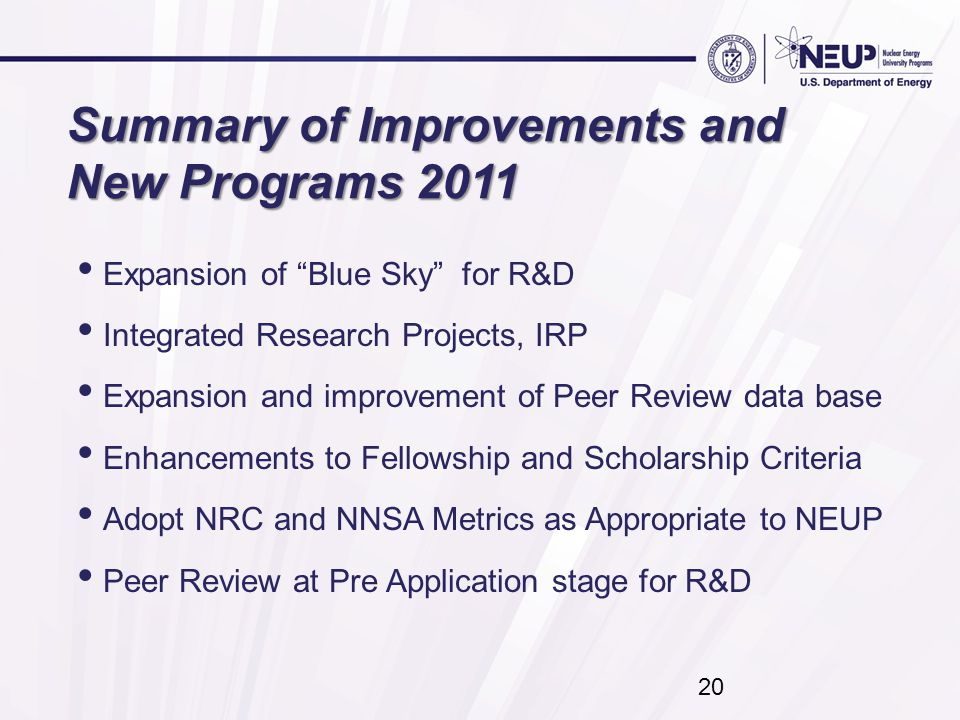 20 Summary of Improvements and New Programs 2011 Expansion of Blue Sky for R&D Integrated Research Projects, IRP Expansion and improvement of Peer Review data base Enhancements to Fellowship and Scholarship Criteria Adopt NRC and NNSA Metrics as Appropriate to NEUP Peer Review at Pre Application stage for R&D