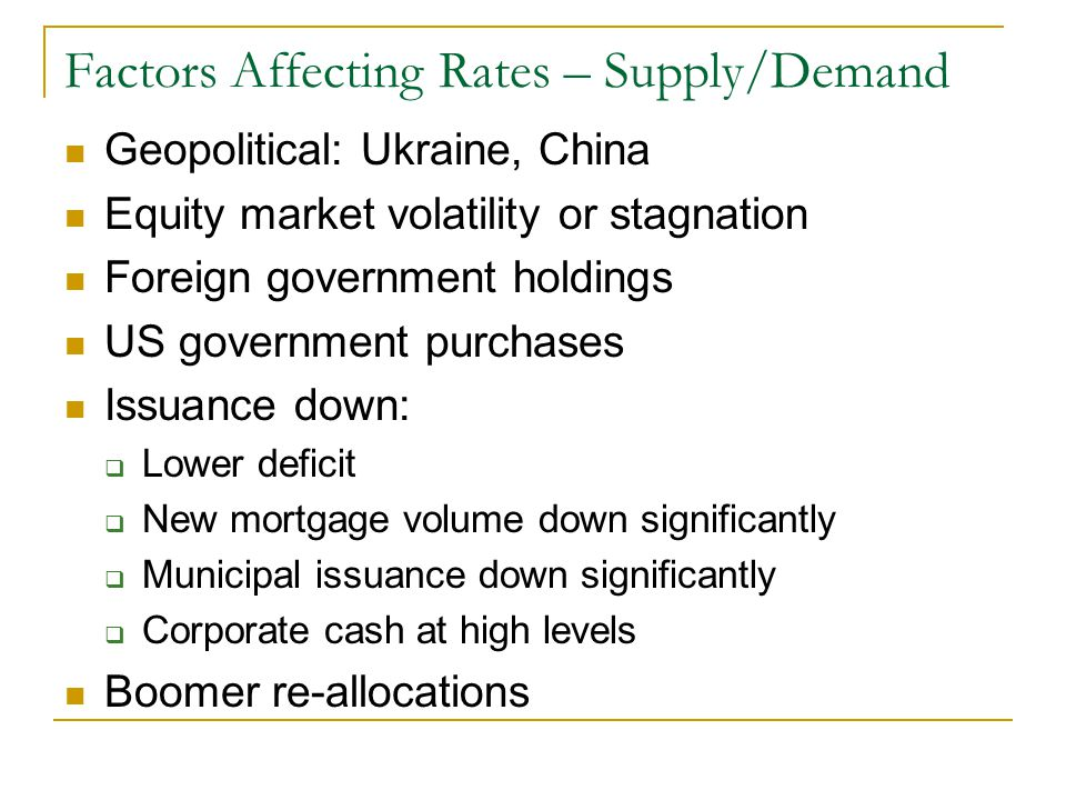 Factors Affecting Rates – Supply/Demand Geopolitical: Ukraine, China Equity market volatility or stagnation Foreign government holdings US government