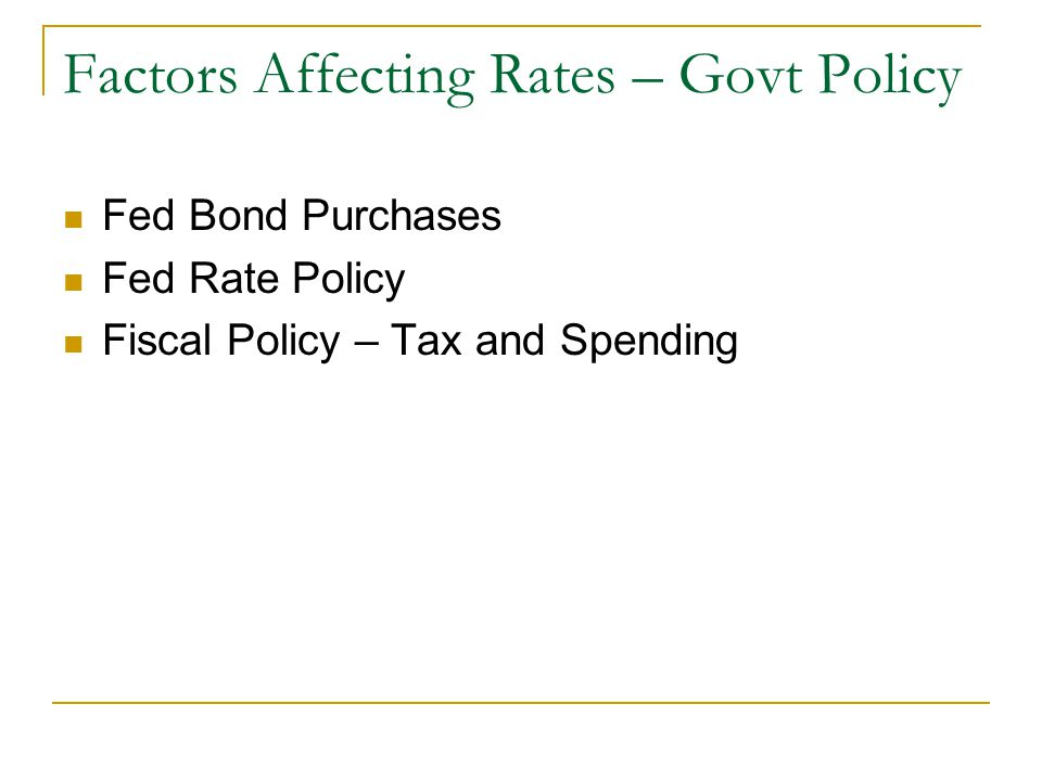 Factors Affecting Rates – Govt Policy Fed Bond Purchases Fed Rate Policy Fiscal Policy – Tax and Spending