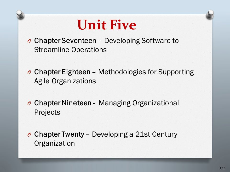 17-2 Unit Five O Chapter Seventeen – Developing Software to Streamline Operations O Chapter Eighteen – Methodologies for Supporting Agile Organizations O Chapter Nineteen - Managing Organizational Projects O Chapter Twenty – Developing a 21st Century Organization