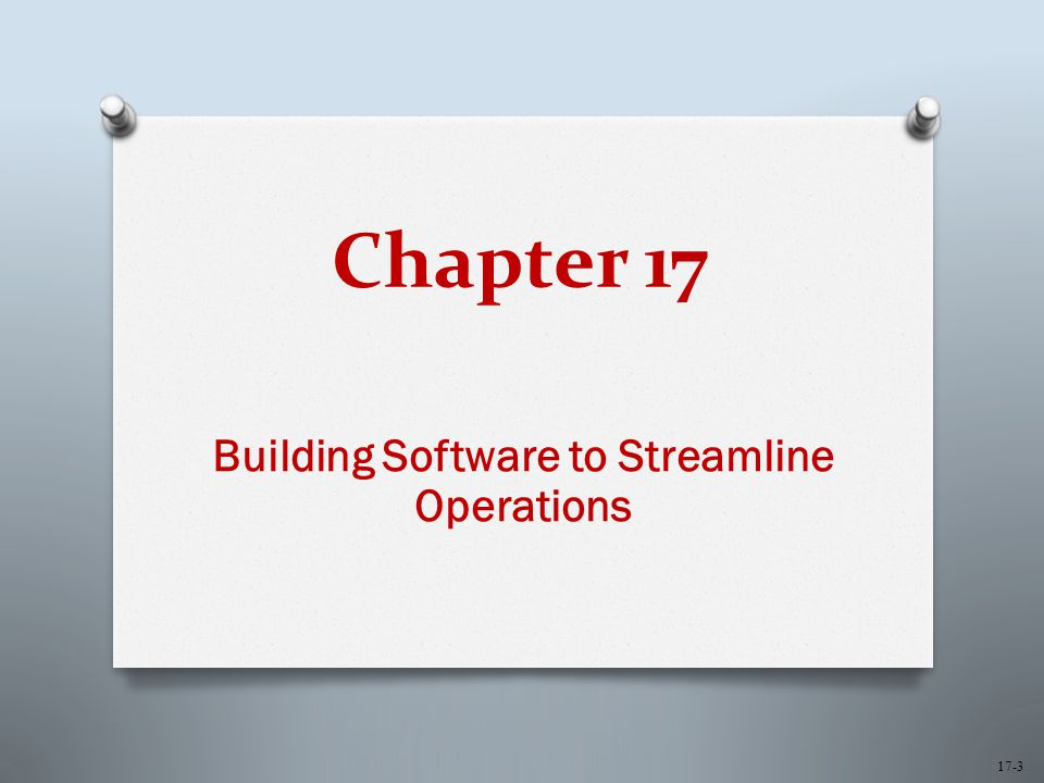 Chapter 17 Building Software to Streamline Operations 17-3