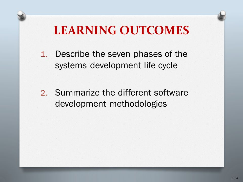 17-4 LEARNING OUTCOMES 1. Describe the seven phases of the systems development life cycle 2.