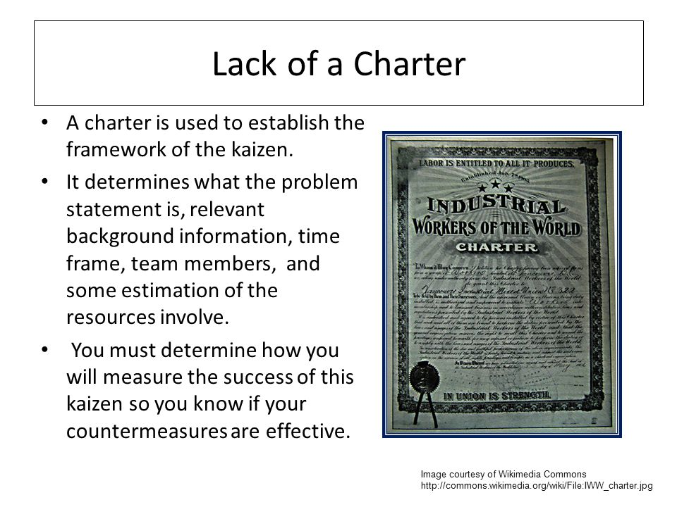 Lack of a Charter A charter is used to establish the framework of the kaizen.