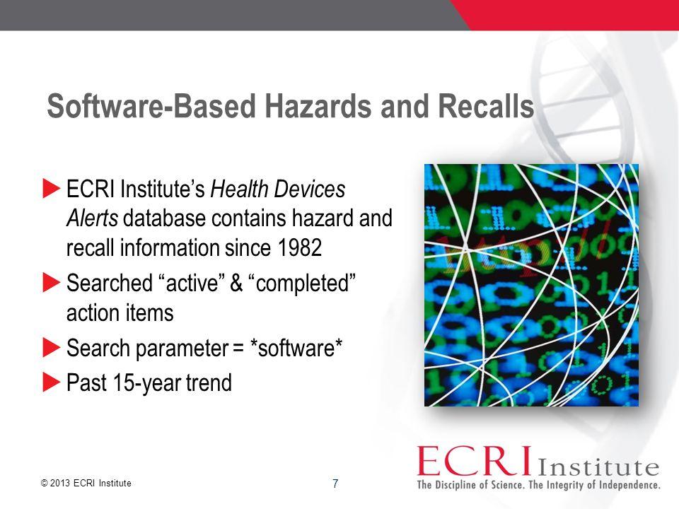 © 2013 ECRI Institute ECRI Institute Survey Data 18 Source – Health Devices, April 2013