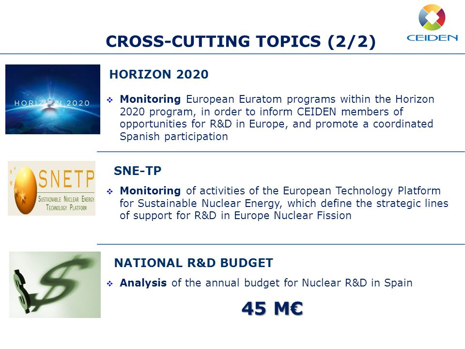 HORIZON 2020  Monitoring European Euratom programs within the Horizon 2020 program, in order to inform CEIDEN members of opportunities for R&D in Europe, and promote a coordinated Spanish participation SNE-TP  Monitoring of activities of the European Technology Platform for Sustainable Nuclear Energy, which define the strategic lines of support for R&D in Europe Nuclear Fission NATIONAL R&D BUDGET  Analysis of the annual budget for Nuclear R&D in Spain 45 M€ CROSS-CUTTING TOPICS (2/2)