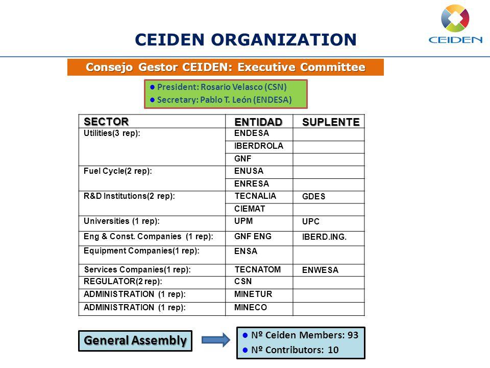 Consejo Gestor CEIDEN: Executive Committee CEIDEN ORGANIZATION President: Rosario Velasco (CSN) Secretary: Pablo T. León (ENDESA)SECTORENTIDADSUPLENTE