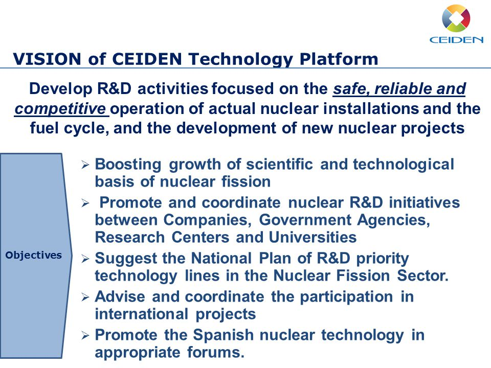 VISION of CEIDEN Technology Platform Develop R&D activities focused on the safe, reliable and competitive operation of actual nuclear installations and the fuel cycle, and the development of new nuclear projects  Boosting growth of scientific and technological basis of nuclear fission  Promote and coordinate nuclear R&D initiatives between Companies, Government Agencies, Research Centers and Universities  Suggest the National Plan of R&D priority technology lines in the Nuclear Fission Sector.