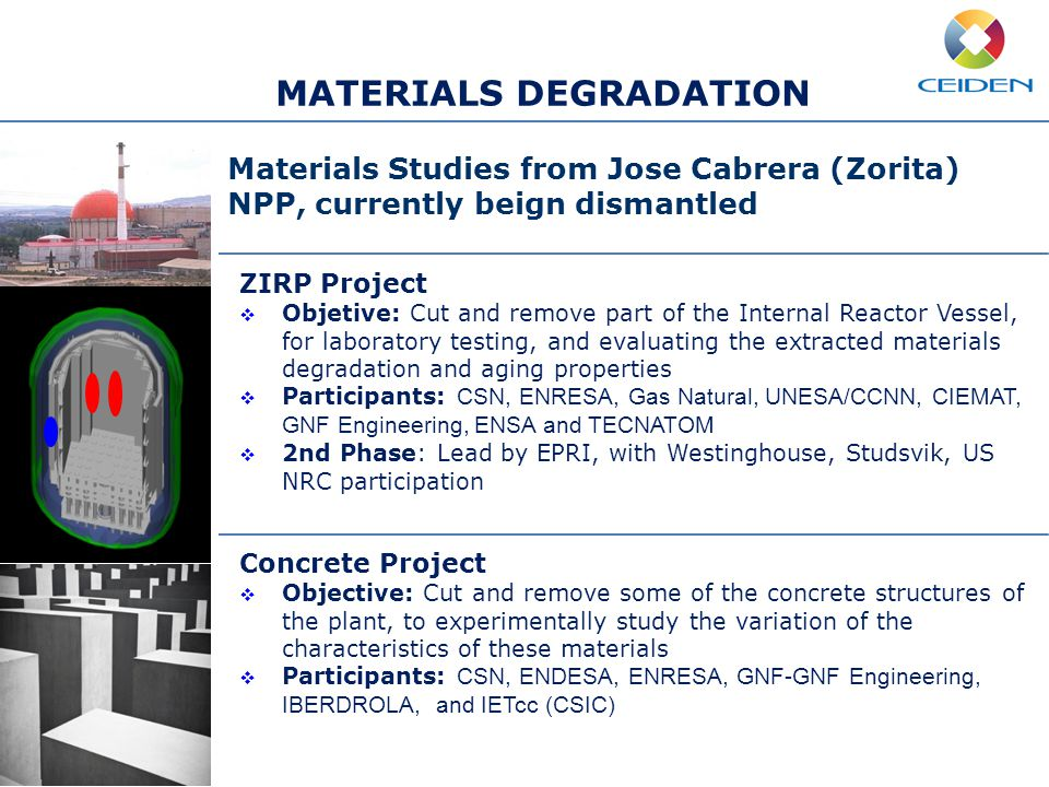 MATERIALS DEGRADATION ZIRP Project  Objetive: Cut and remove part of the Internal Reactor Vessel, for laboratory testing, and evaluating the extracted materials degradation and aging properties  Participants: CSN, ENRESA, Gas Natural, UNESA/CCNN, CIEMAT, GNF Engineering, ENSA and TECNATOM  2nd Phase: Lead by EPRI, with Westinghouse, Studsvik, US NRC participation Concrete Project  Objective: Cut and remove some of the concrete structures of the plant, to experimentally study the variation of the characteristics of these materials  Participants: CSN, ENDESA, ENRESA, GNF-GNF Engineering, IBERDROLA, and IETcc (CSIC) Materials Studies from Jose Cabrera (Zorita) NPP, currently beign dismantled