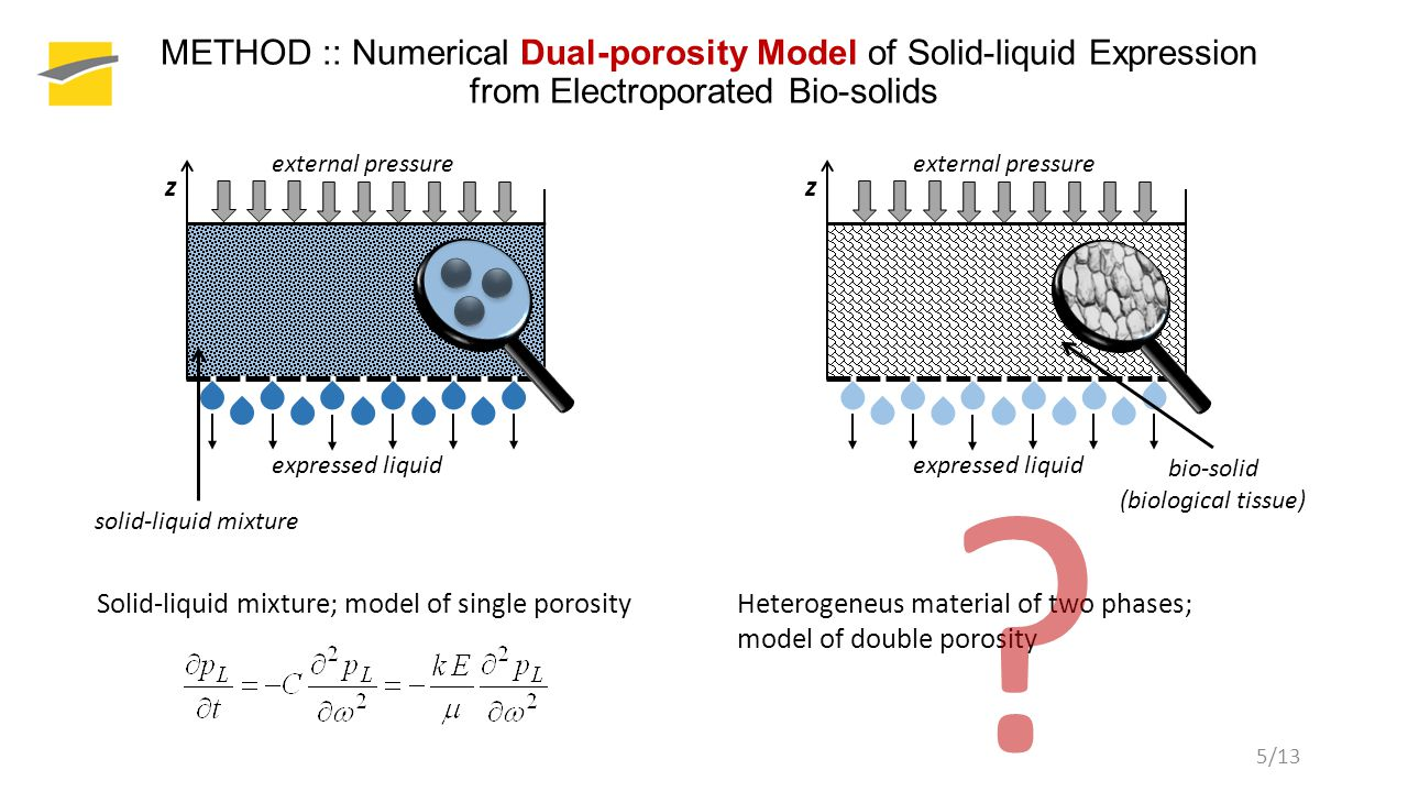 5/13 METHOD :: Numerical Dual-porosity Model of Solid-liquid Expression from Electroporated Bio-solids solid-liquid mixture z external pressure expressed liquid bio-solid (biological tissue) z external pressure expressed liquid Solid-liquid mixture; model of single porosityHeterogeneus material of two phases; model of double porosity