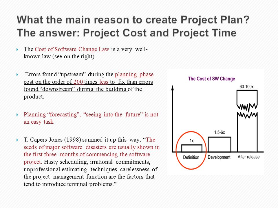 """ The Cost of Software Change Law is a very well- known law (see on the right).  Errors found """"upstream"""" during the planning phase cost on the order"""