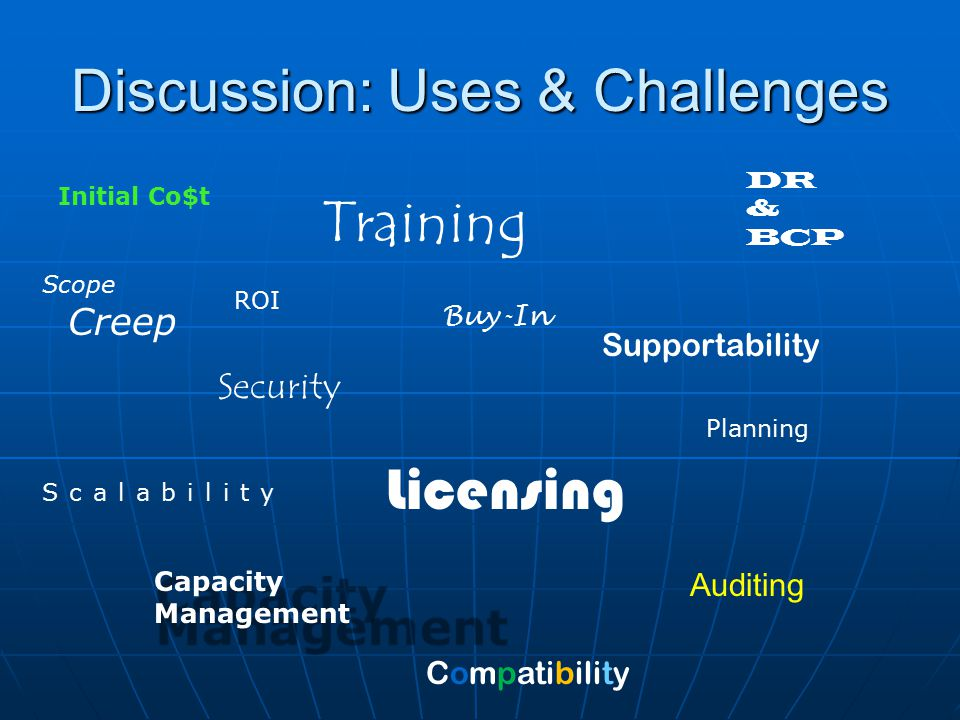 Discussion: Uses & Challenges Scope Creep Security Supportability Licensing Training Scalability Buy-In Auditing ROI Planning Initial Co$t DR & BCP Compatibility